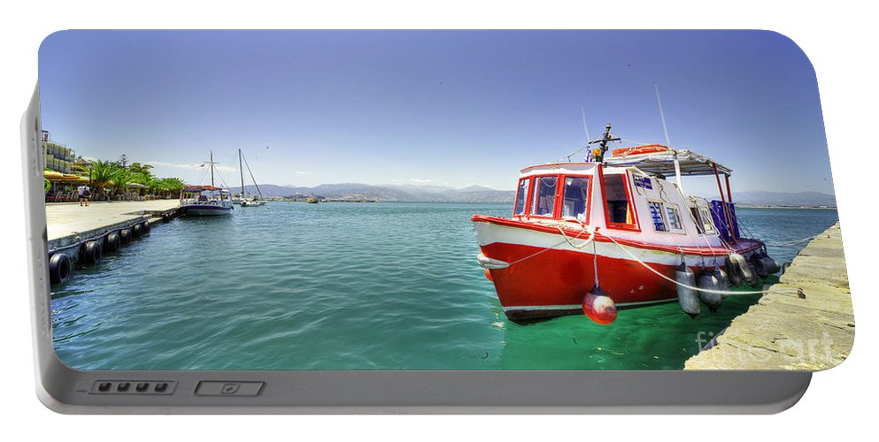 Nafplion Portable Battery Charger featuring the photograph Red Boat At Nafplion Harbour by Rob Hawkins