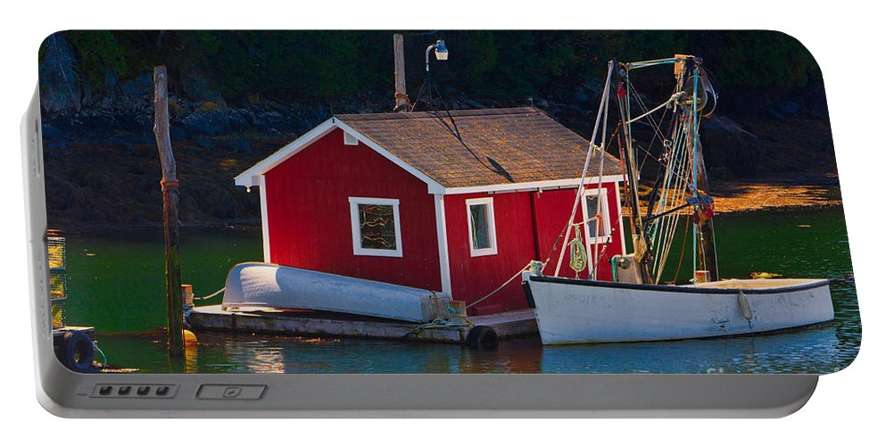 Campobello Portable Battery Charger featuring the photograph Red Boat House by Jerry Fornarotto