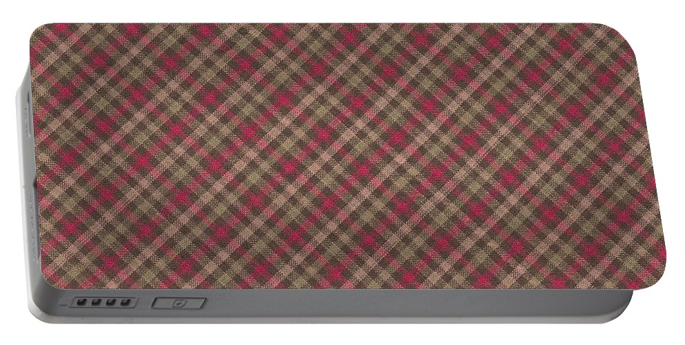 Pattern Portable Battery Charger featuring the photograph Red Brown And Green Diagonal Plaid Pattern Fabric Background by Keith Webber Jr
