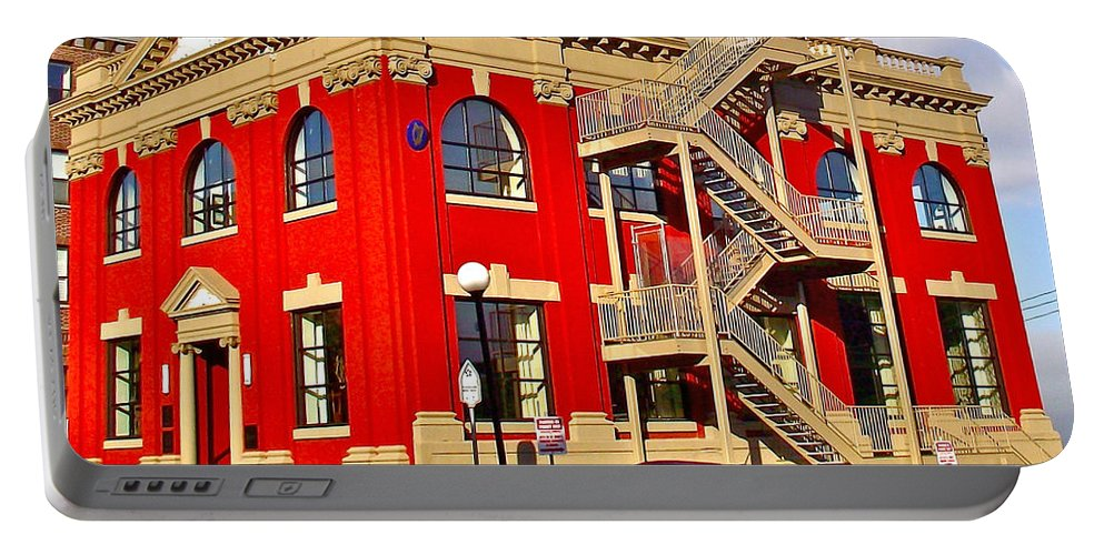 Red Building On Water Street In Saint John's Portable Battery Charger featuring the photograph Red Building On Water Street In Saint John's-nl by Ruth Hager