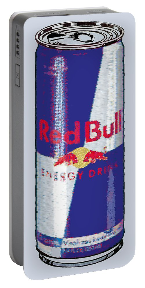Red Bull Portable Battery Charger featuring the painting Red Bull Ode To Andy Warhol by Tony Rubino