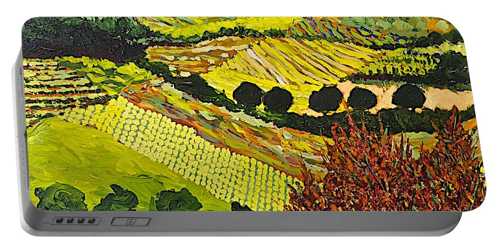 Landscape Portable Battery Charger featuring the painting Red Bush by Allan P Friedlander