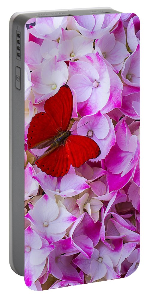 Red Portable Battery Charger featuring the photograph Red Butterfly On Hydrangea by Garry Gay