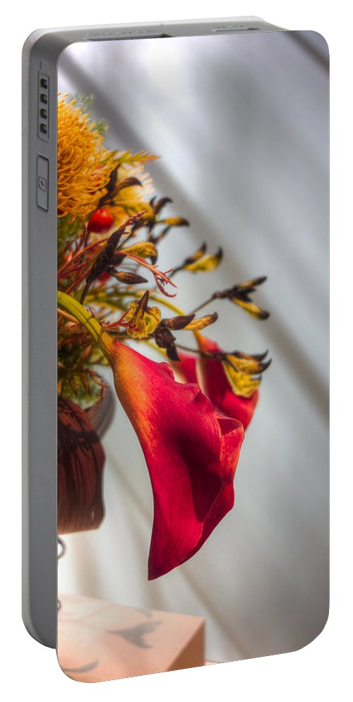Flowers Portable Battery Charger featuring the photograph Red Cala by David Stone