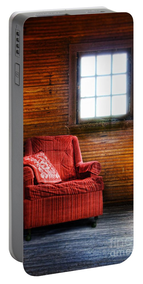 Chair By The Window Portable Battery Charger featuring the photograph Red Chair In Panelled Room by Jill Battaglia