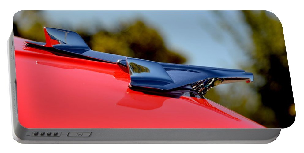 Red Portable Battery Charger featuring the photograph Red Chevy Hood by Dean Ferreira