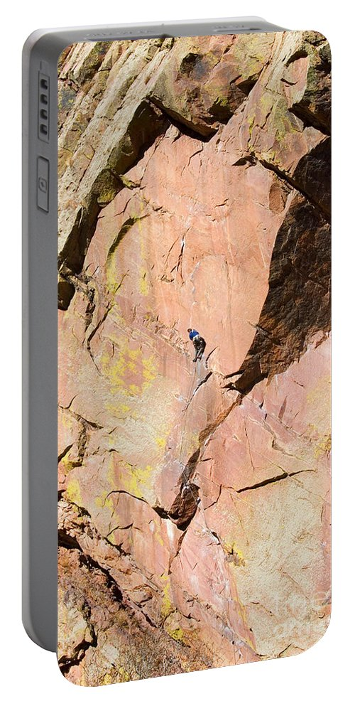 Mountain Climbing Portable Battery Charger featuring the photograph Red Cliff by Steve Krull
