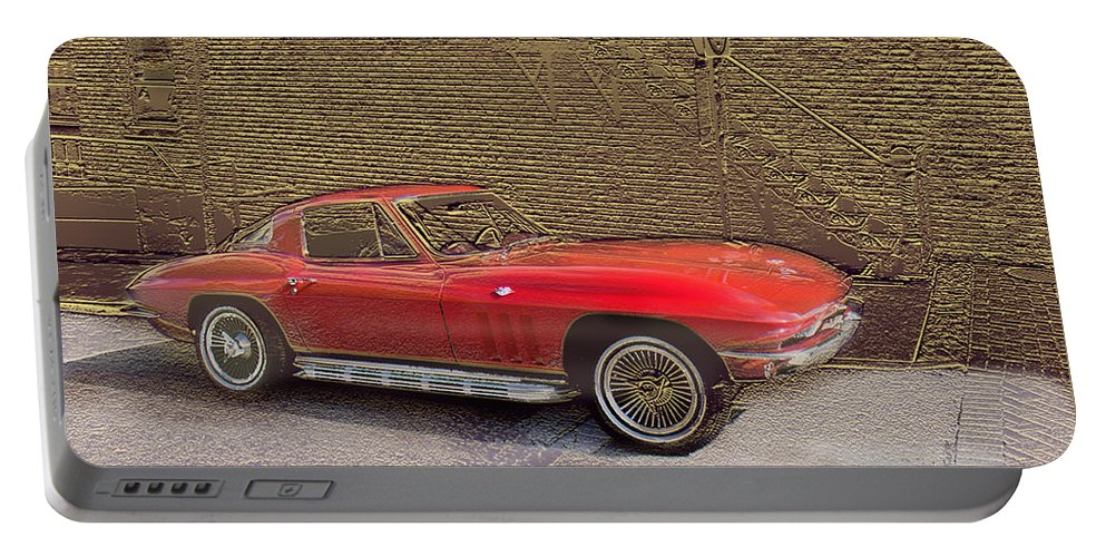 Cars Portable Battery Charger featuring the mixed media Red Corvette by Steve Karol