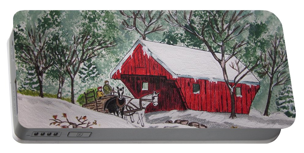 Red Covered Bridge Portable Battery Charger featuring the painting Red Covered Bridge Christmas by Kathy Marrs Chandler