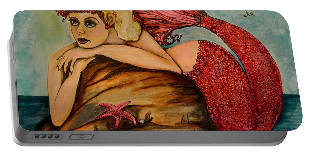 Mermaid Portable Battery Charger featuring the painting Red Dust Mermaid by Valarie Pacheco