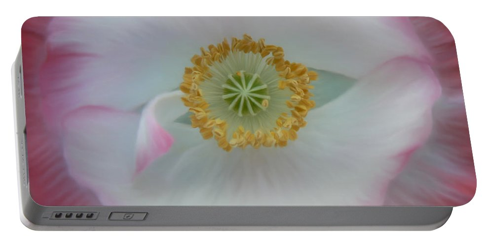 Poppy's Eye Portable Battery Charger featuring the photograph Red Eye Poppy by Barbara St Jean