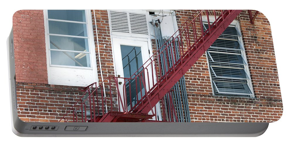 Horizontal Portable Battery Charger featuring the photograph Red Fire Escape Usa I by Sally Rockefeller