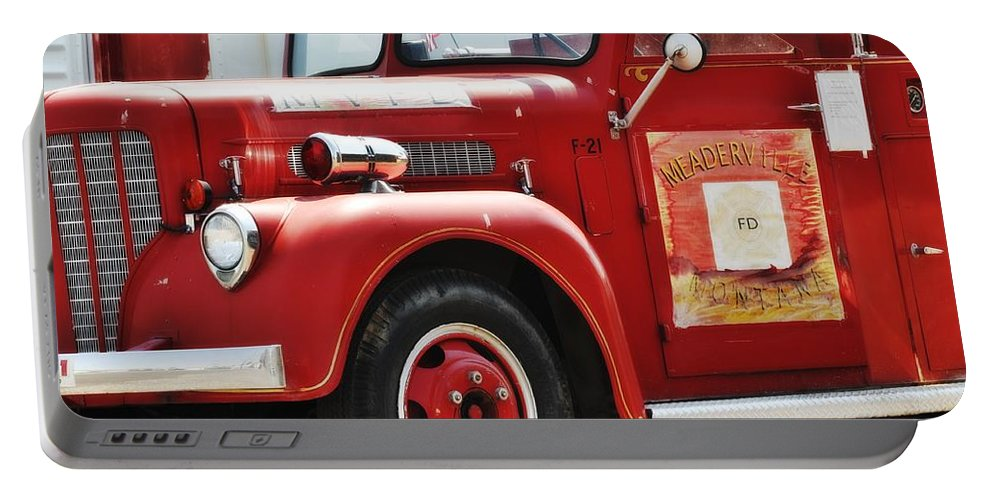 Montana Portable Battery Charger featuring the photograph Red Fire Truck by Image Takers Photography LLC - Carol Haddon