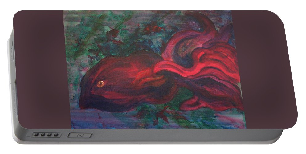 Red Portable Battery Charger featuring the painting Red Fish by Sheri Lauren