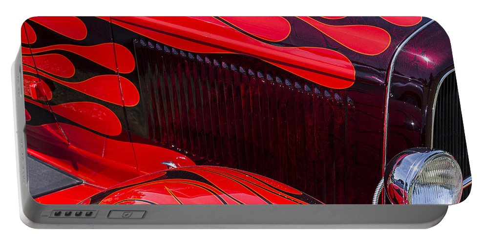 Red Car Portable Battery Charger featuring the photograph Red Flames Hot Rod by Garry Gay