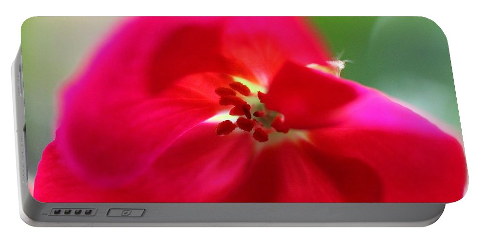 Macro Portable Battery Charger featuring the photograph Red Flower by Ashley M Conger