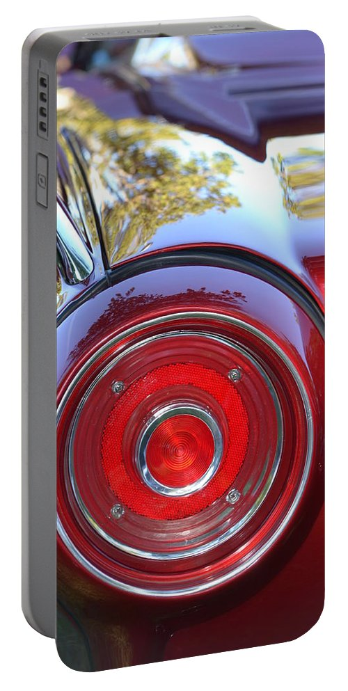 Red Portable Battery Charger featuring the photograph Red Ford Tailight by Dean Ferreira