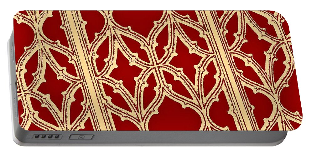 Christmas Portable Battery Charger featuring the photograph Gothic Pattern On Red by Chris Berry