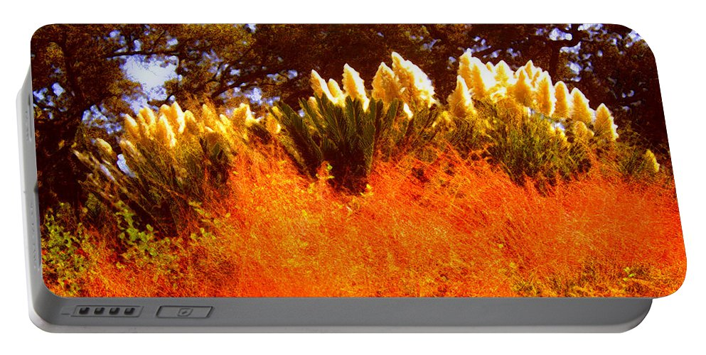 Landscapes Portable Battery Charger featuring the painting Red Grass by Amy Vangsgard