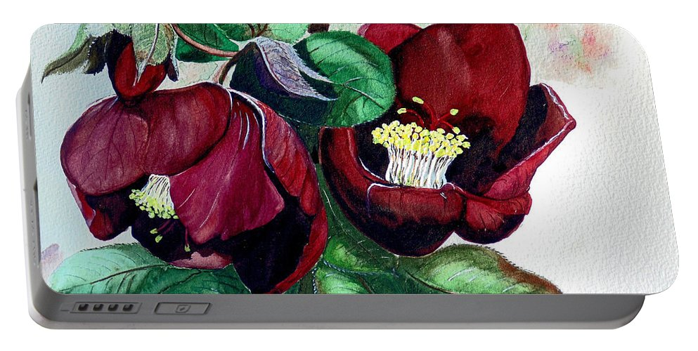 Red Helleborous Painting Flower Painting  Botanical Painting Watercolor Painting Original Painting Floral Painting Flower Painting Red Painting  Greeting Painting Portable Battery Charger featuring the painting Red Helleborous by Karin Dawn Kelshall- Best