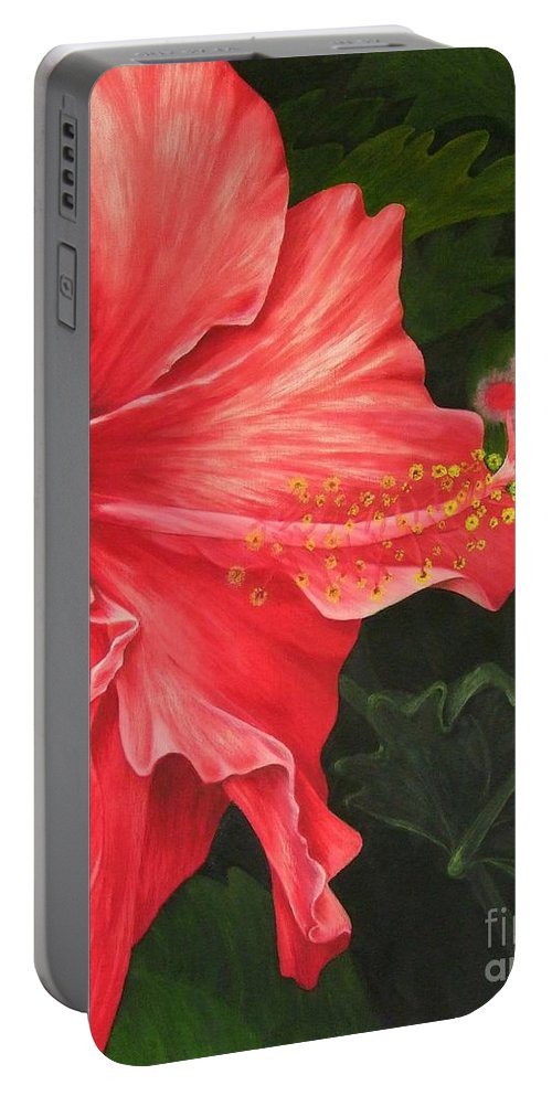 Red Flowers Portable Battery Charger featuring the painting Red Hibiscus by Mary Deal