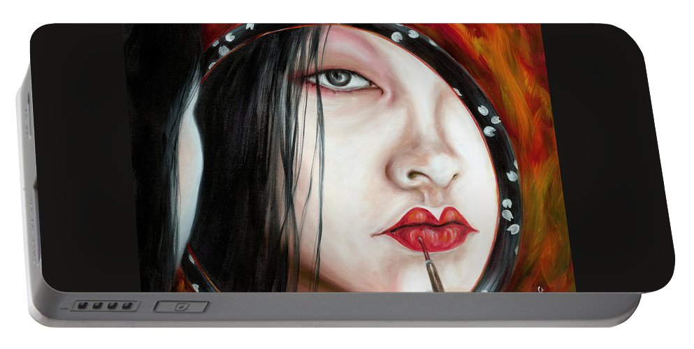 Japanese Woman Portable Battery Charger featuring the painting Red by Hiroko Sakai