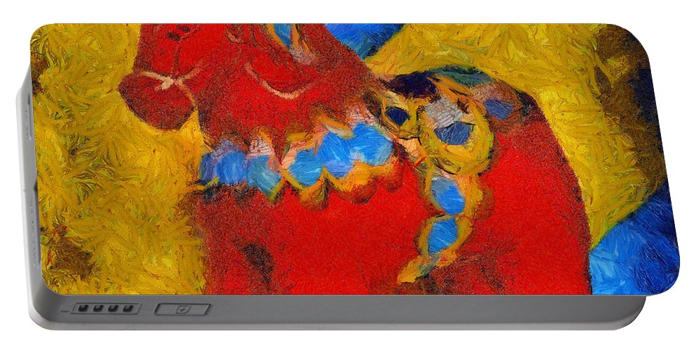 Barbara Snyder Portable Battery Charger featuring the digital art Red Horse by Barbara Snyder