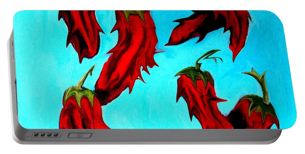Chili Peppers Portable Battery Charger featuring the painting Red Hot Chili Peppers by Katy Hawk