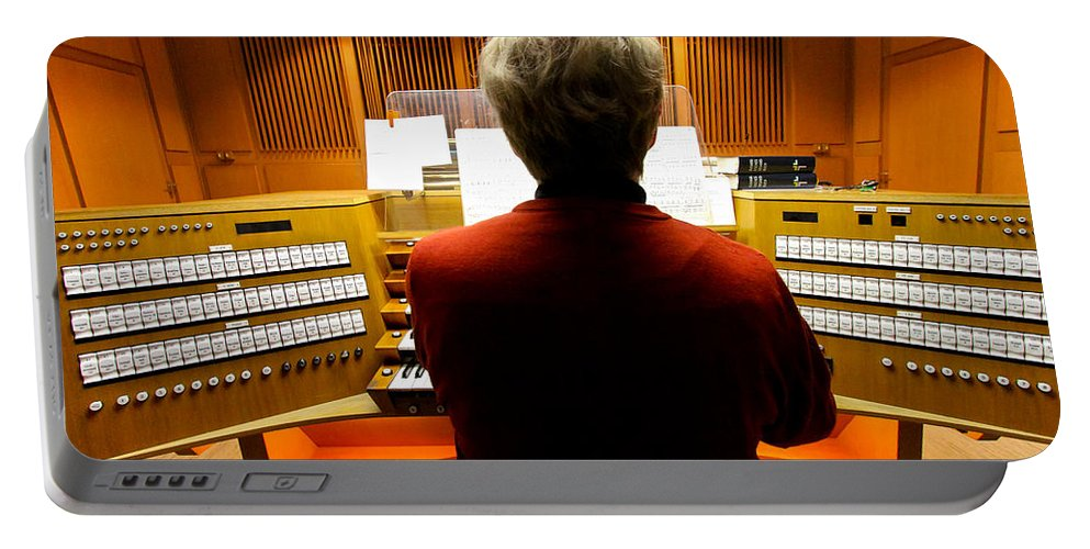 Germany Portable Battery Charger featuring the photograph Red Hot Organist by Jenny Setchell
