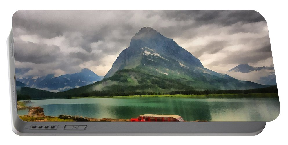Montana Portable Battery Charger featuring the digital art Red Jammer by Mark Kiver