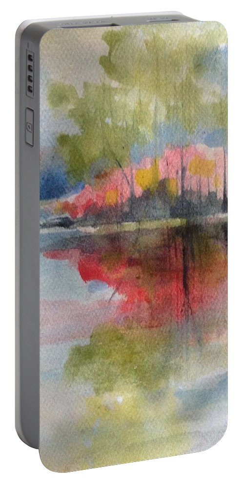 Island Portable Battery Charger featuring the painting Red Lake Reflection #2 by Robin Miller-Bookhout