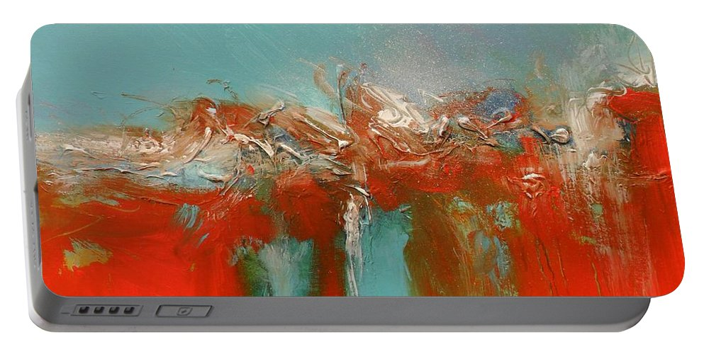 Red Portable Battery Charger featuring the painting Red Landing by Skye Taylor