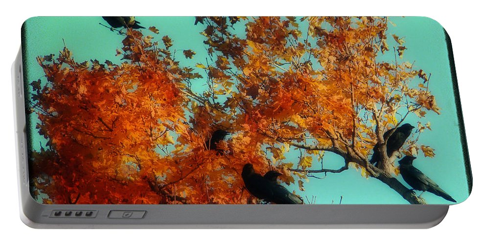 Red Leaves Portable Battery Charger featuring the photograph Red Leaves Among The Ravens by Gothicrow Images