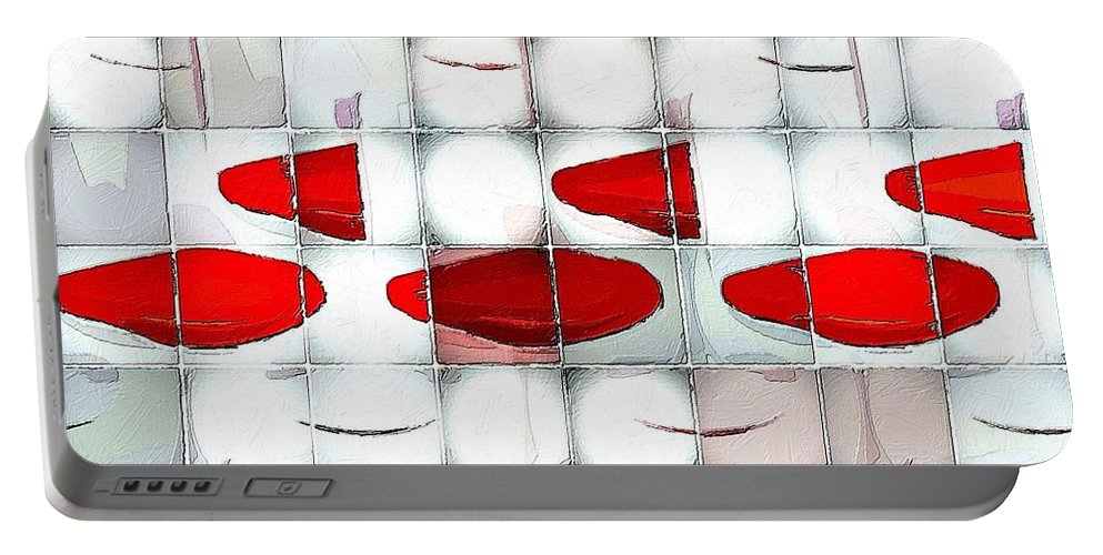 Glass Portable Battery Charger featuring the painting Red Light Glasses by Florian Rodarte