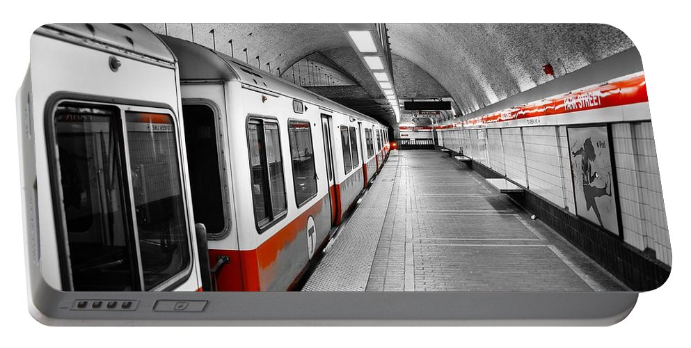 Red Portable Battery Charger featuring the photograph Red Line by Charles Dobbs