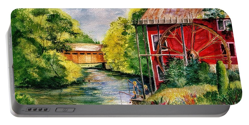 Landscape Portable Battery Charger featuring the painting Red Mill At Waupaca by Marilyn Smith