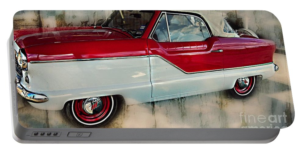 Red Mini Nash Car Portable Battery Charger featuring the photograph Red Mini Nash Vintage Car by Peggy Franz