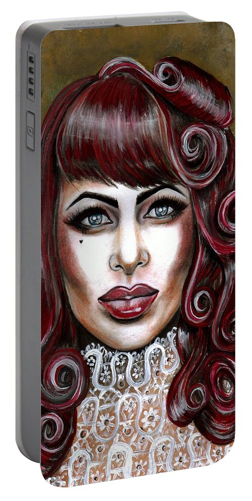 Retro Portable Battery Charger featuring the photograph Red Muneca by Artist RiA