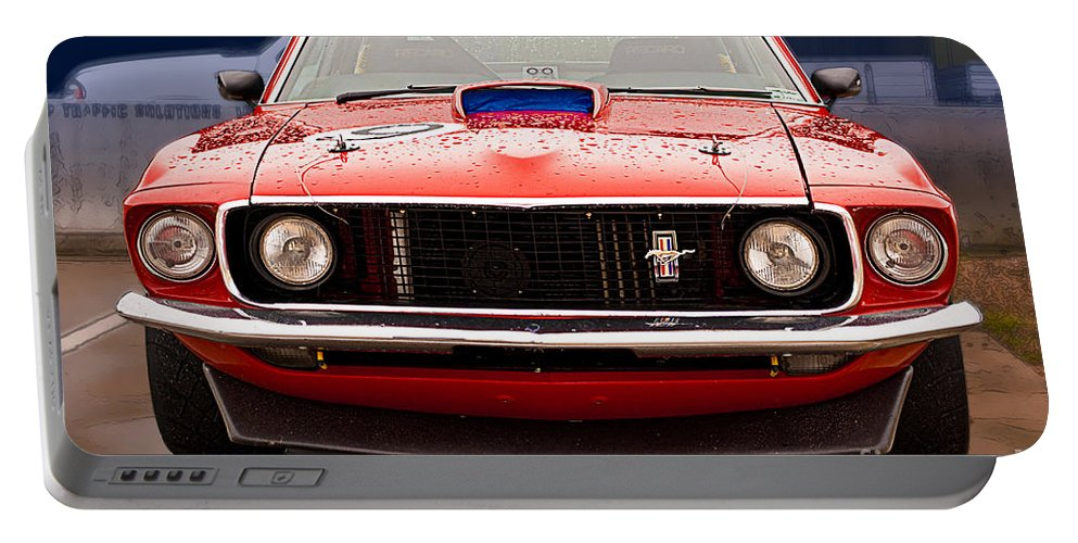 Ford Portable Battery Charger featuring the photograph Red Mustang by Stuart Row