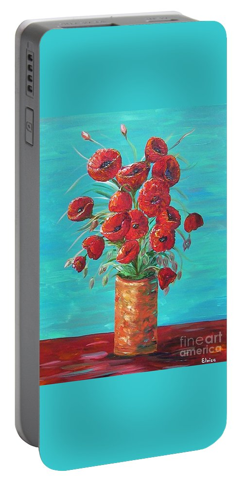 Poppy Portable Battery Charger featuring the painting Red On My Table by Eloise Schneider Mote