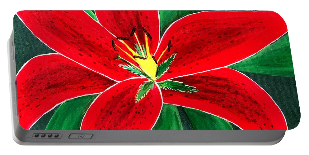 Barbara Griffin Portable Battery Charger featuring the painting Red Oriental Daylily by Barbara Griffin