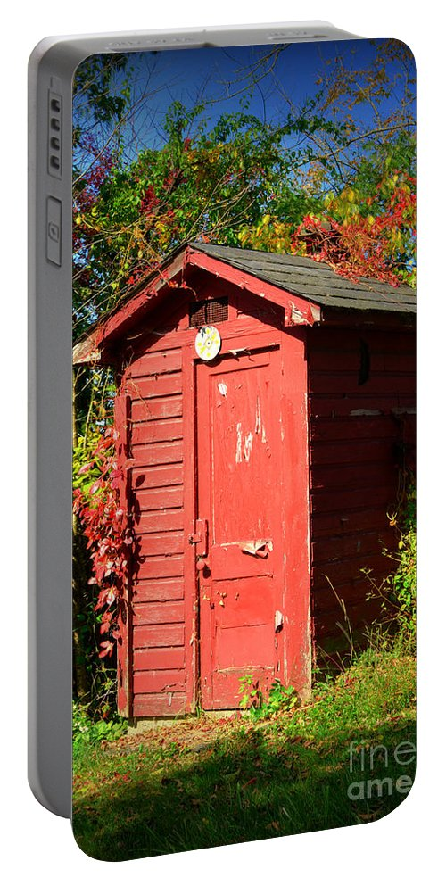 Outhouse Portable Battery Charger featuring the photograph Red Outhouse by Paul Ward