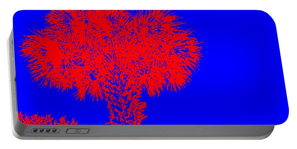 Palm Portable Battery Charger featuring the painting Red Palm by George Pedro