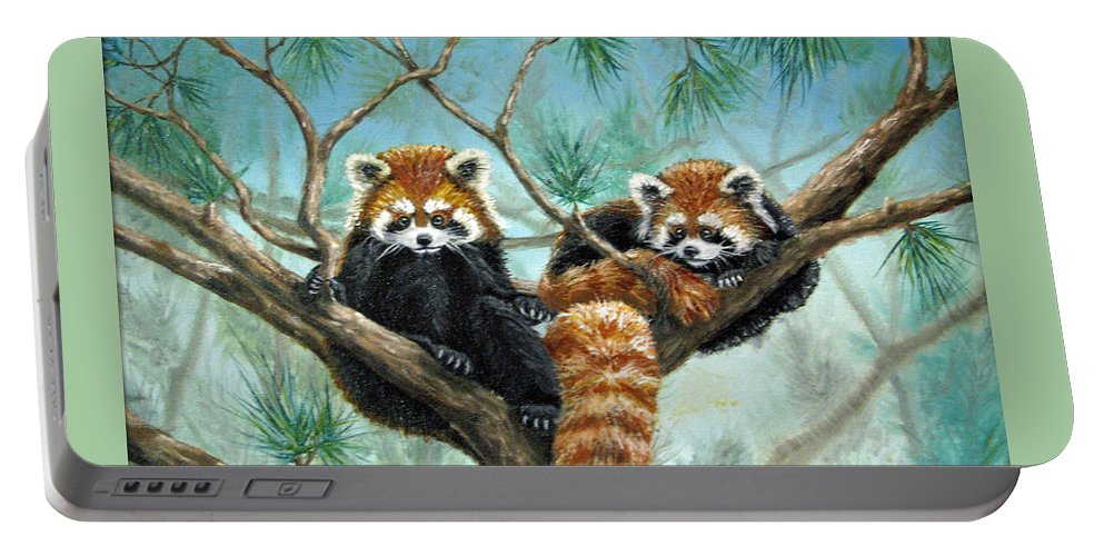 The Other Panda Portable Battery Charger featuring the painting Red Pandas by Beverly Fuqua