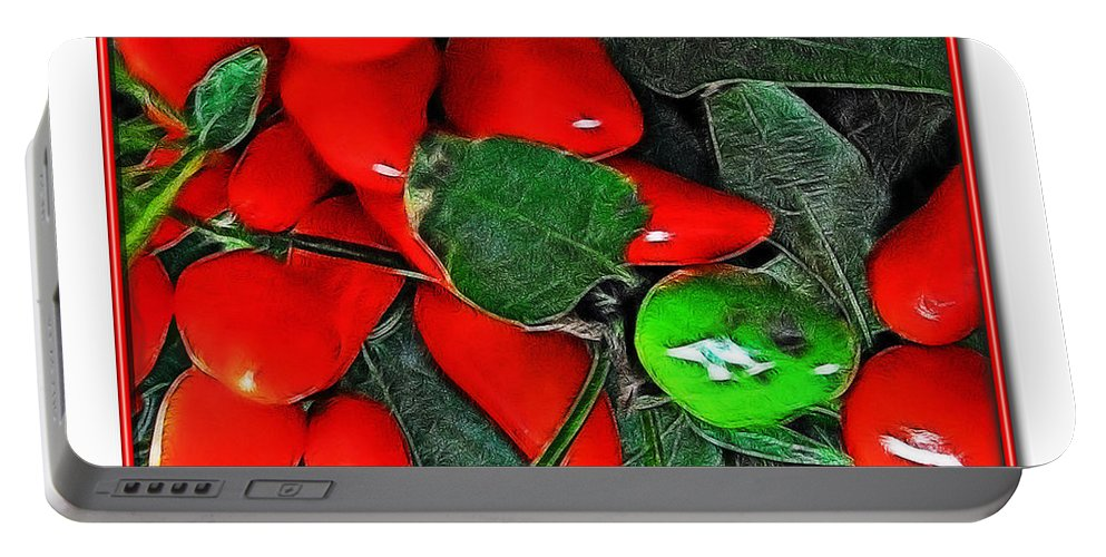 Botanical Portable Battery Charger featuring the photograph Red Pepper Plant by Joan Minchak