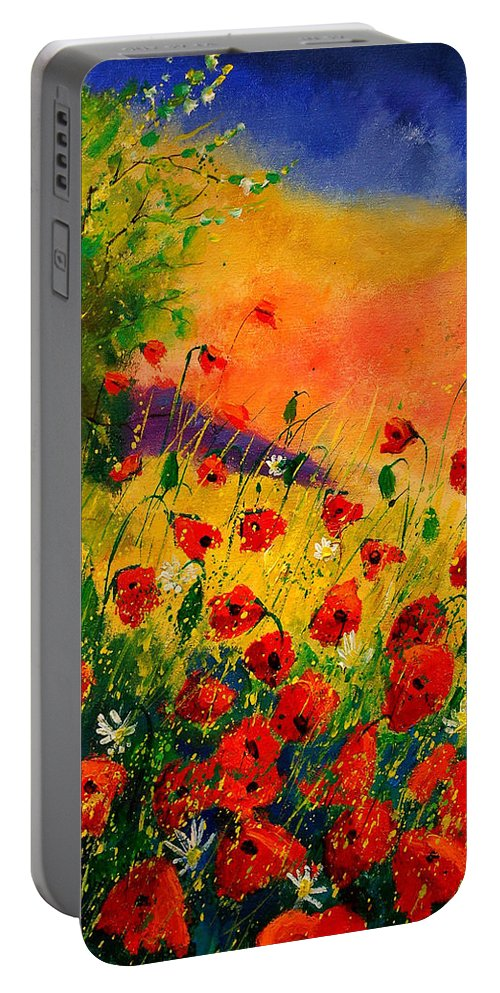 Poppies Portable Battery Charger featuring the painting Red Poppies 45 by Pol Ledent