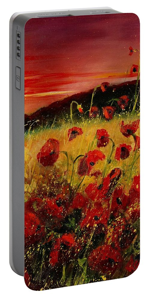 Poppies Portable Battery Charger featuring the painting Red poppies and sunset by Pol Ledent