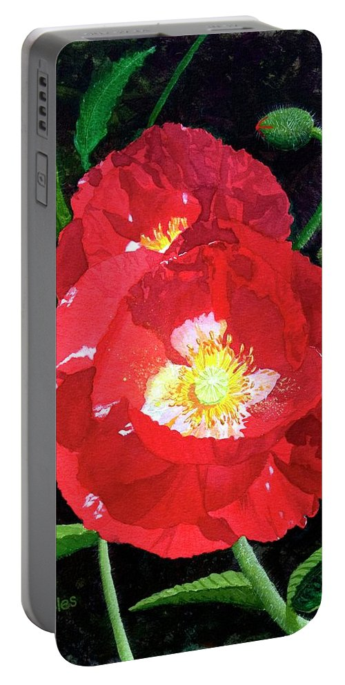Flower Portable Battery Charger featuring the painting Red Poppies by Mike Robles