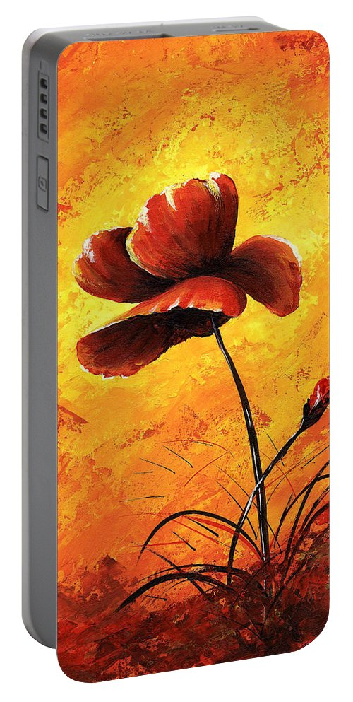Art Portable Battery Charger featuring the painting Red Poppy 012 by Voros Edit