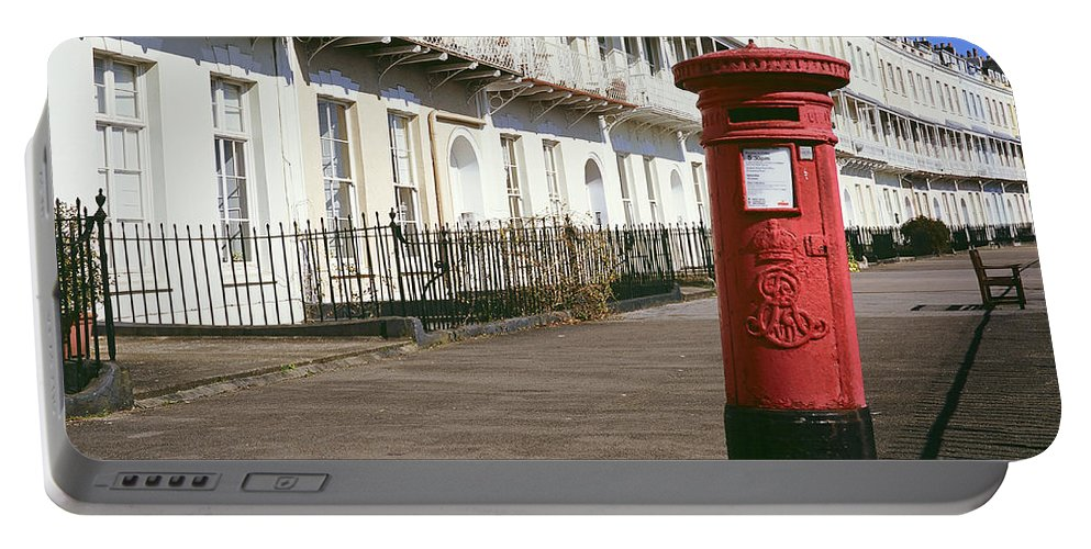 Uk Portable Battery Charger featuring the photograph Red Postbox by Christopher Rees